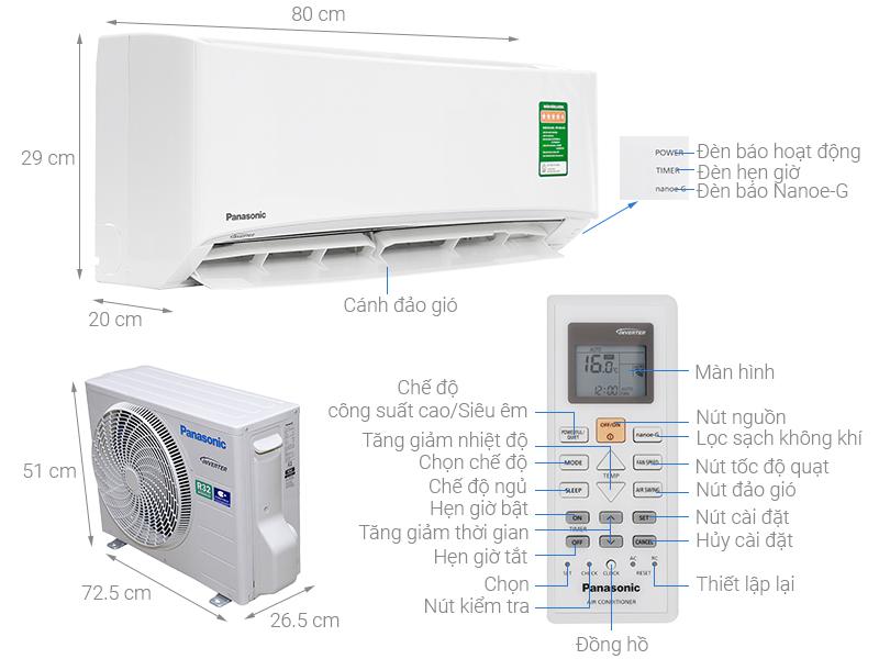 Máy Lạnh Panasonic CU/CS-N9VKH-8 9000 BTU Chính hãng